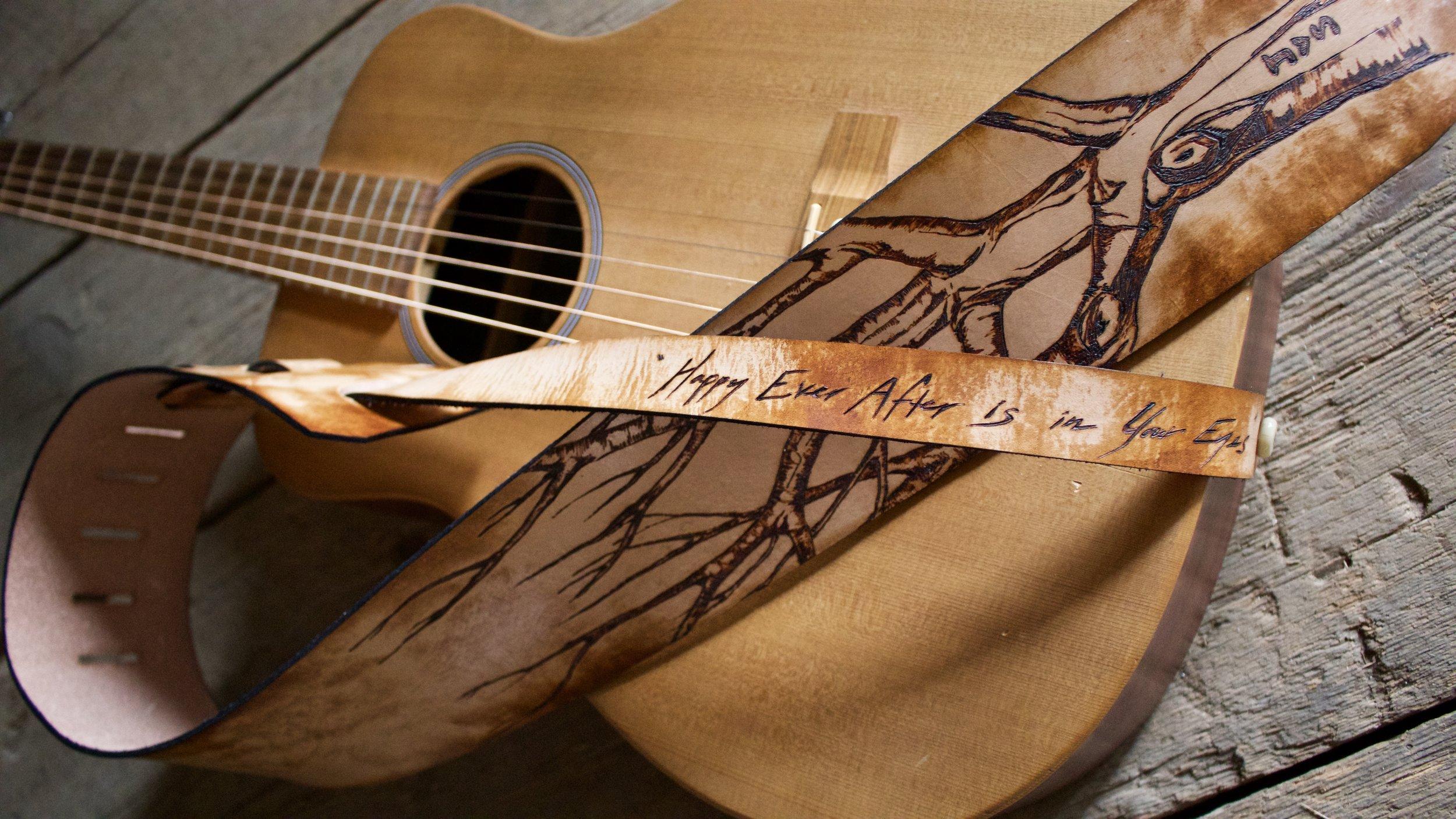 Tree and Aspen Leaves Guitar Strap  3.jpg