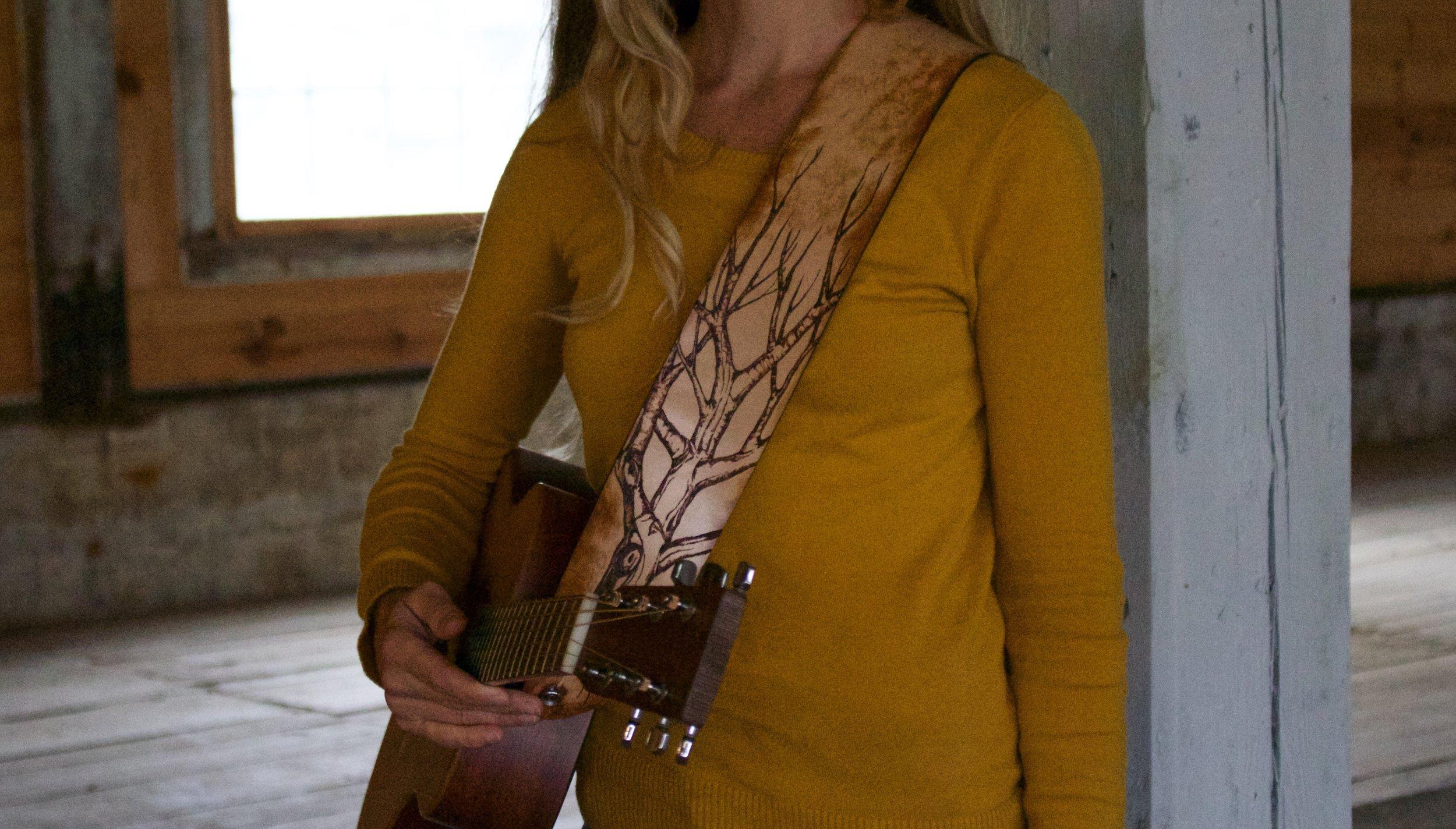 Tree and Aspen Leaves Guitar Strap  7.jpg