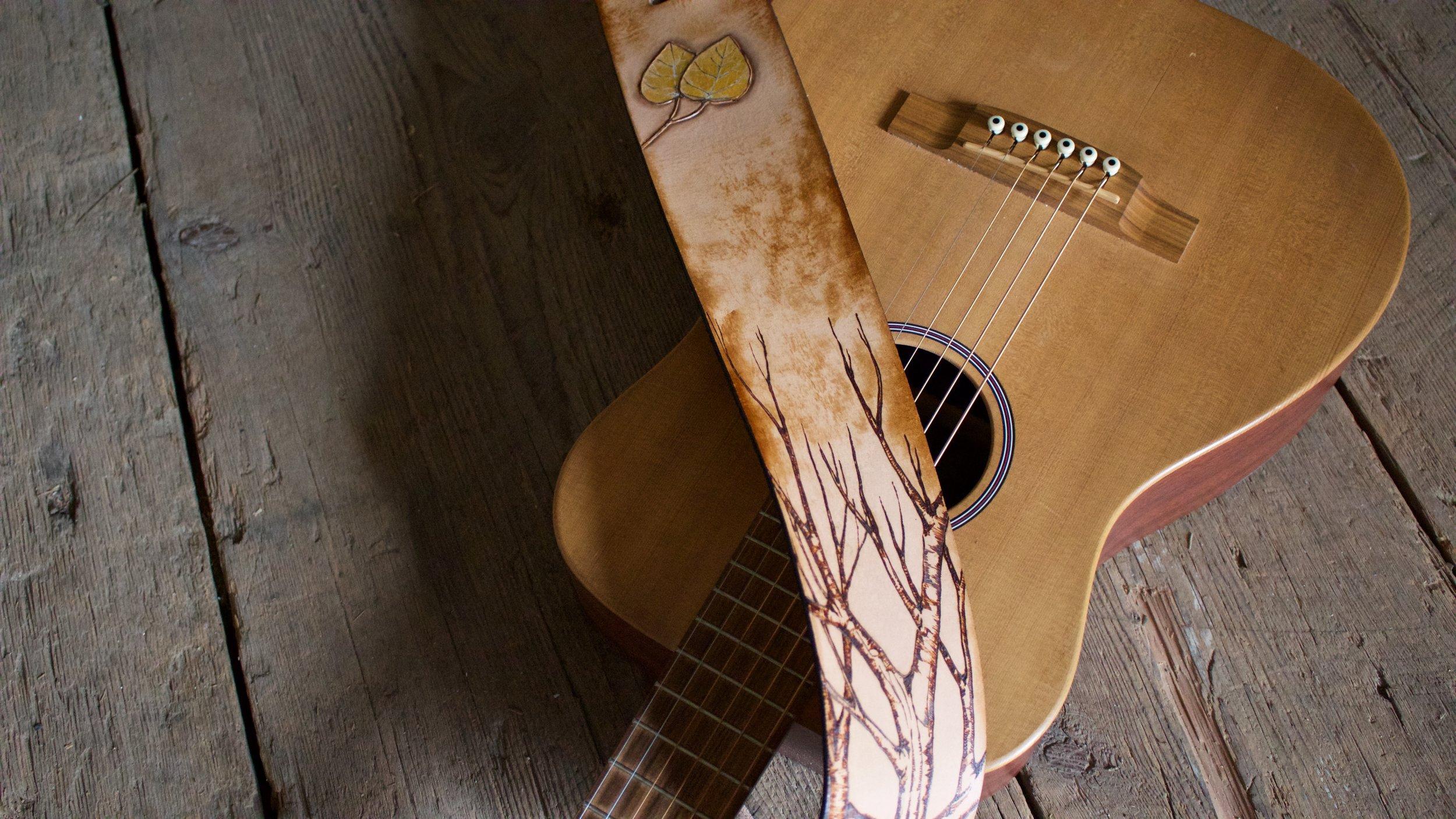 Tree and Aspen Leaves Guitar Strap 1.jpg