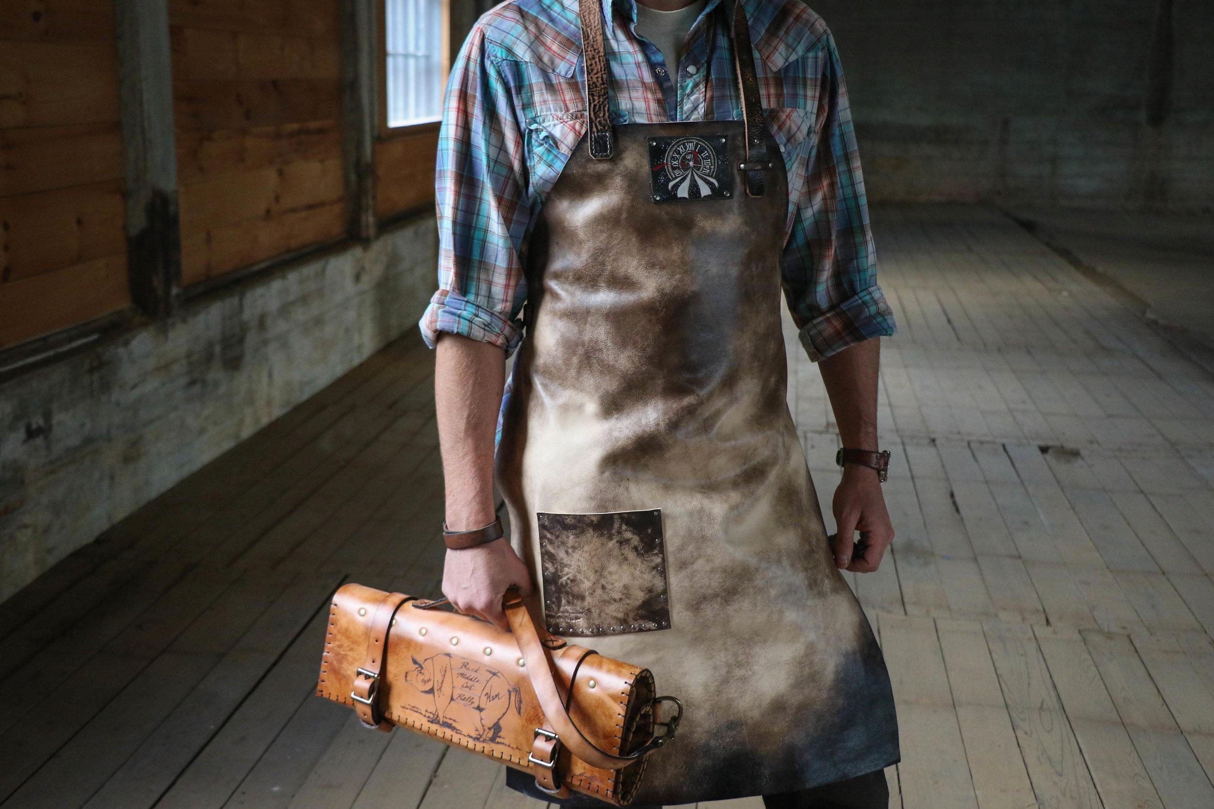 Custom apron and butchers knife roll 1.jpg