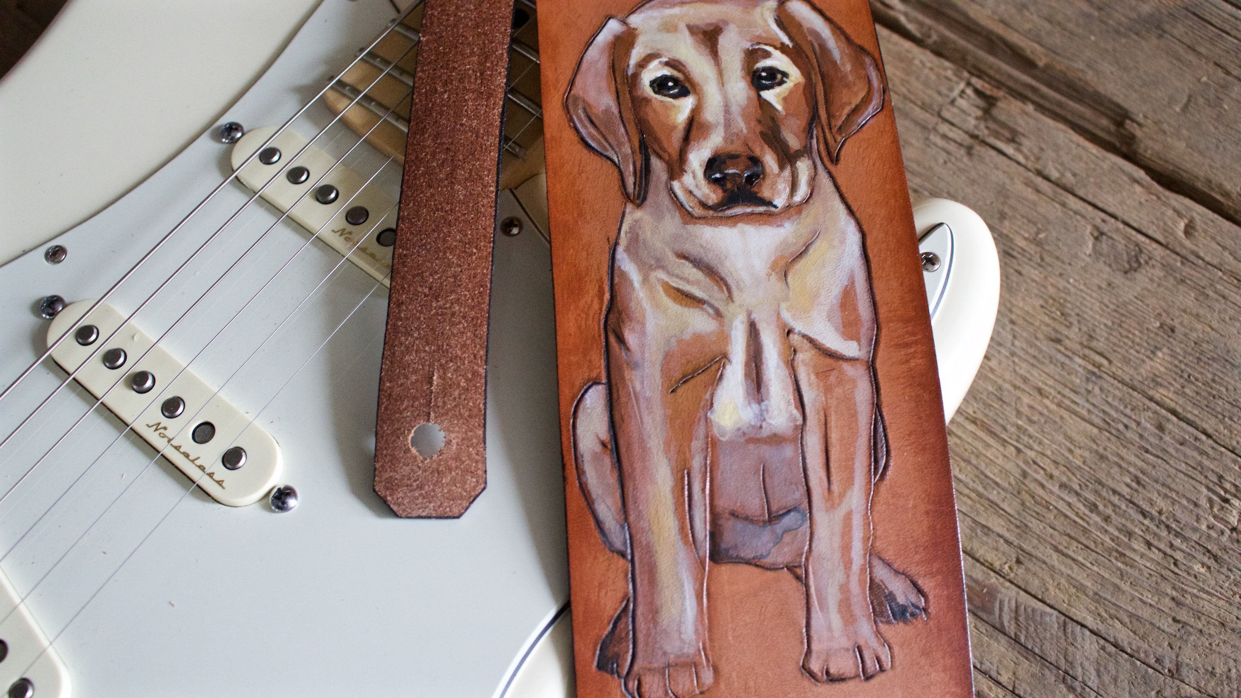 Custom Guitar Strap with Puppy