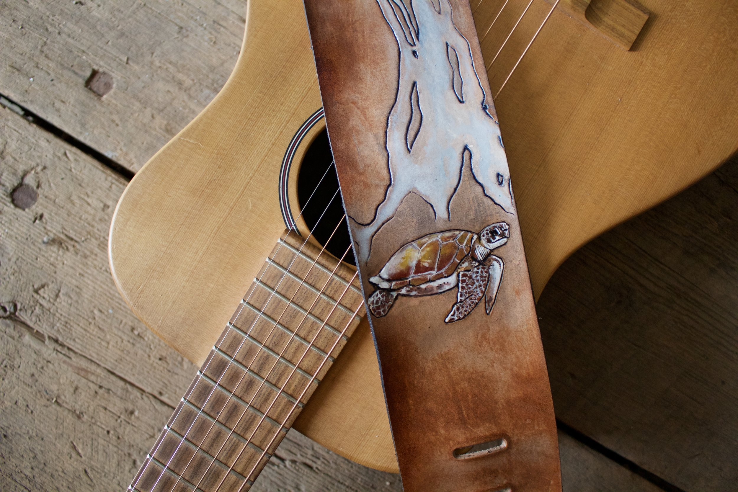 custom leather guitar strap with whale turtle and snail