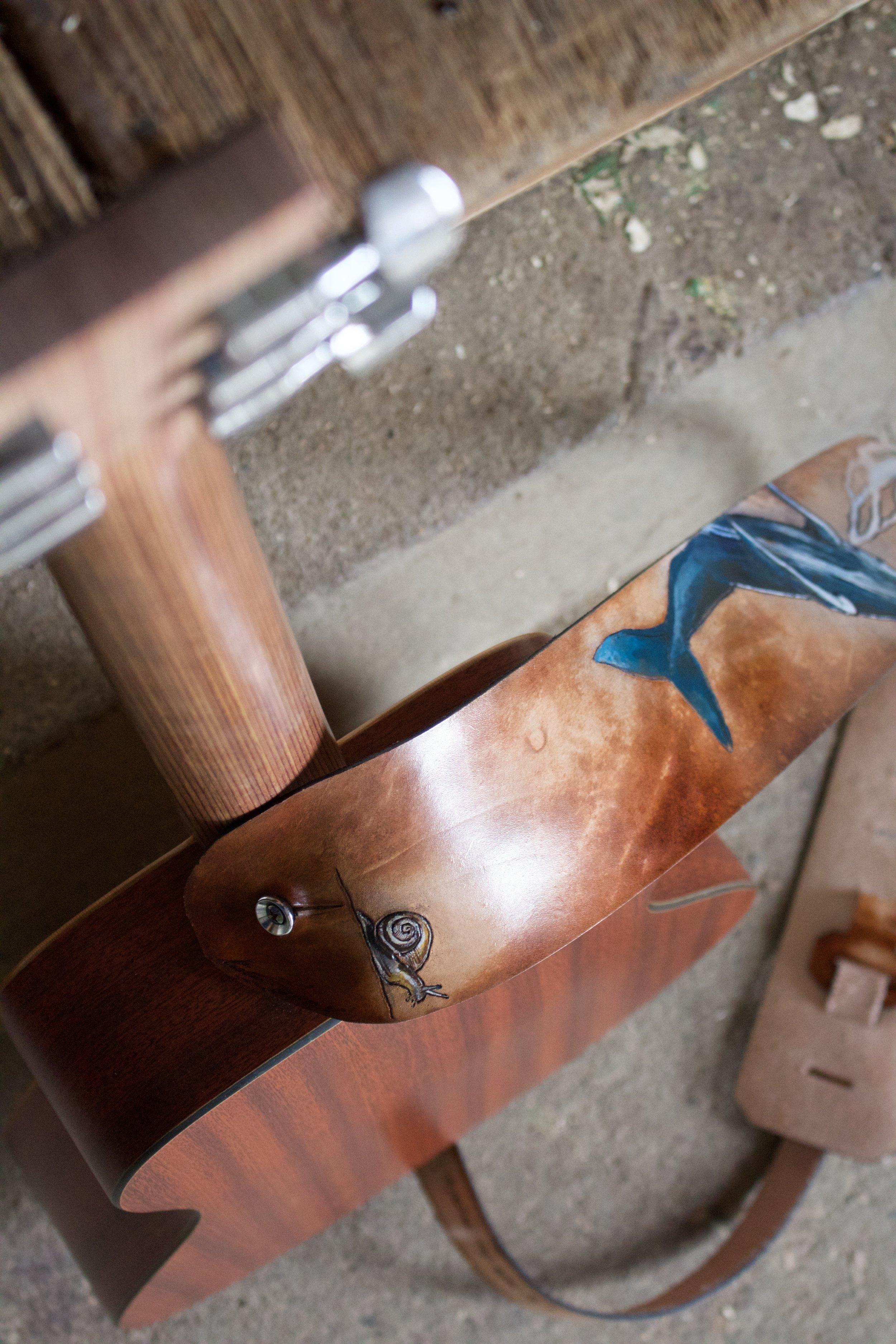blue whale turltle and snail custom guitar strap 7.jpg