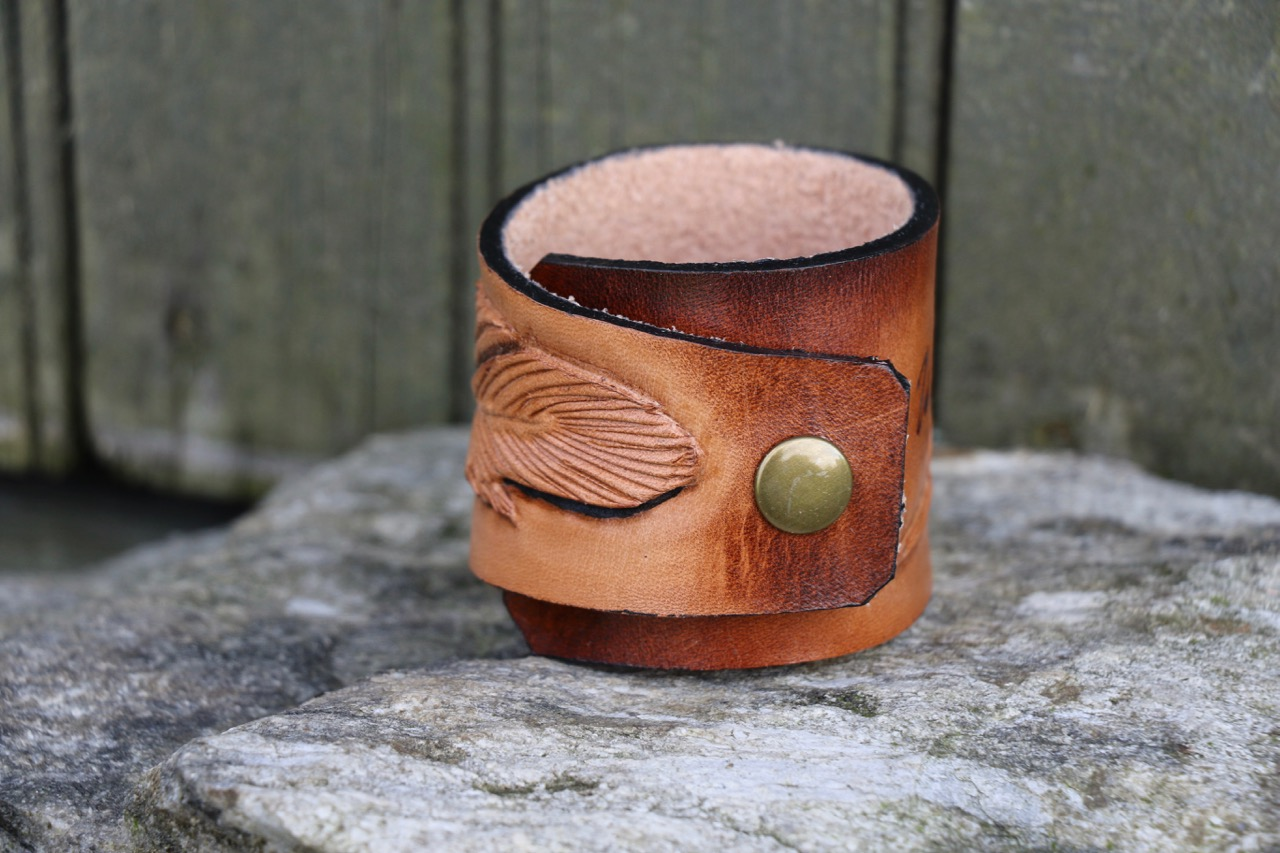 Tooled Feather Leather Cuff