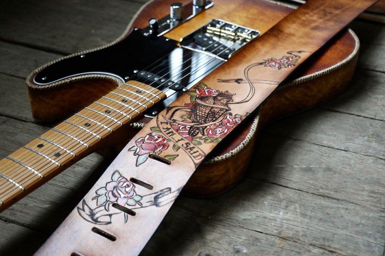 custom leather guitar strap falcon and banners