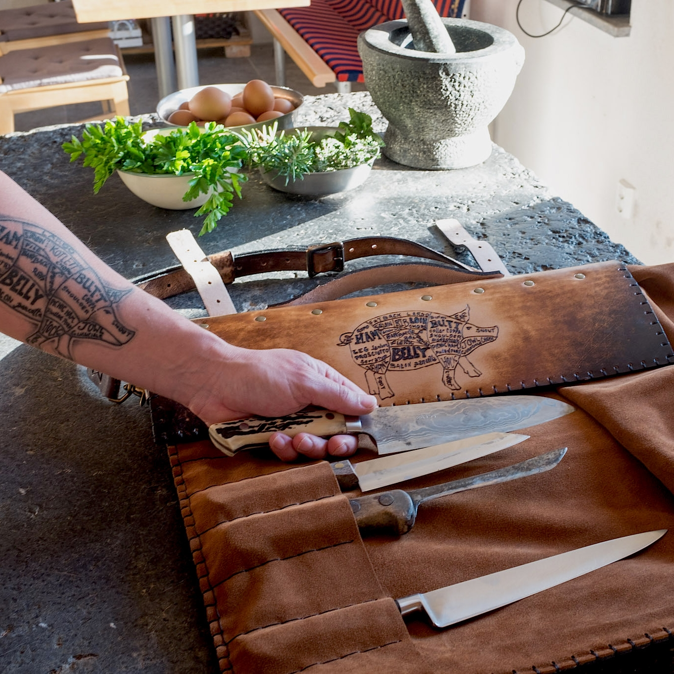 knife roll for chef with tattoo.jpg