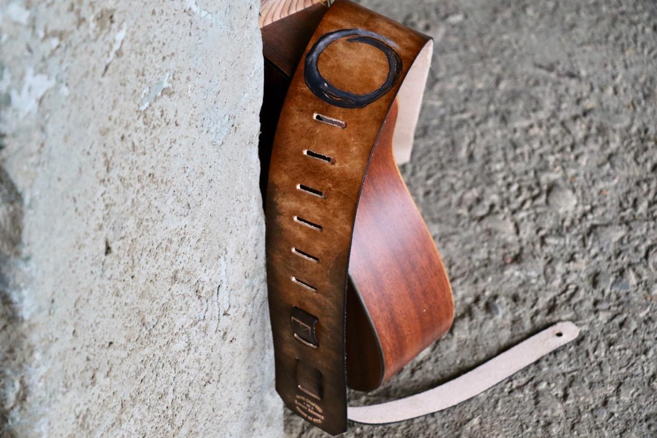 Custom leather guitar strap