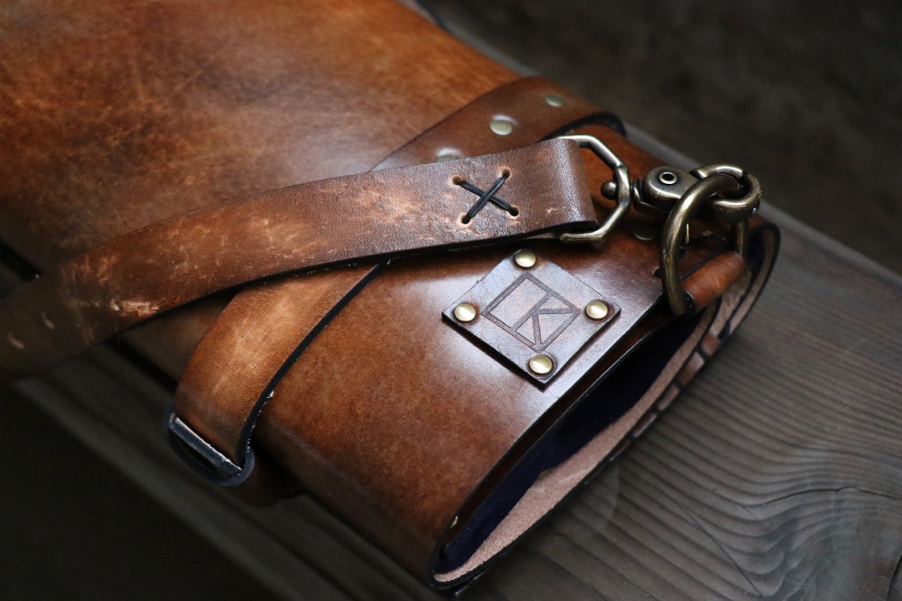Dark Brown Leather Knife Roll by Linny Kenney