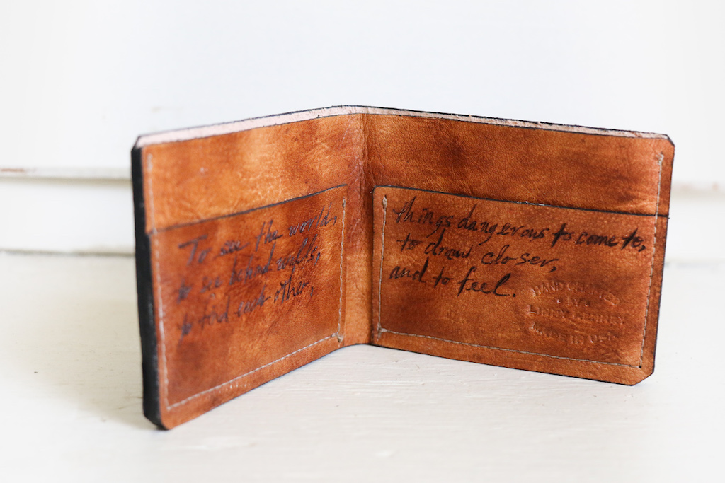 custom leather wallet with inscription