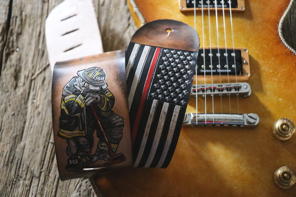 thin red line American flag guitar strap  fallen firefighter guitar strap