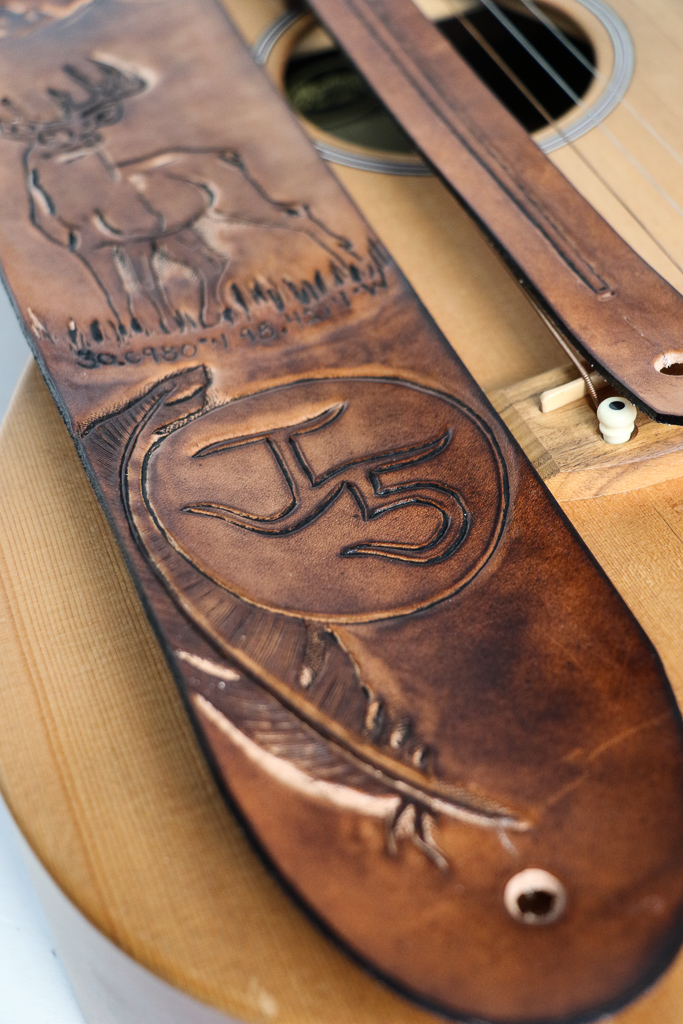 tooled leather custom guitar strap by Linny Kenney