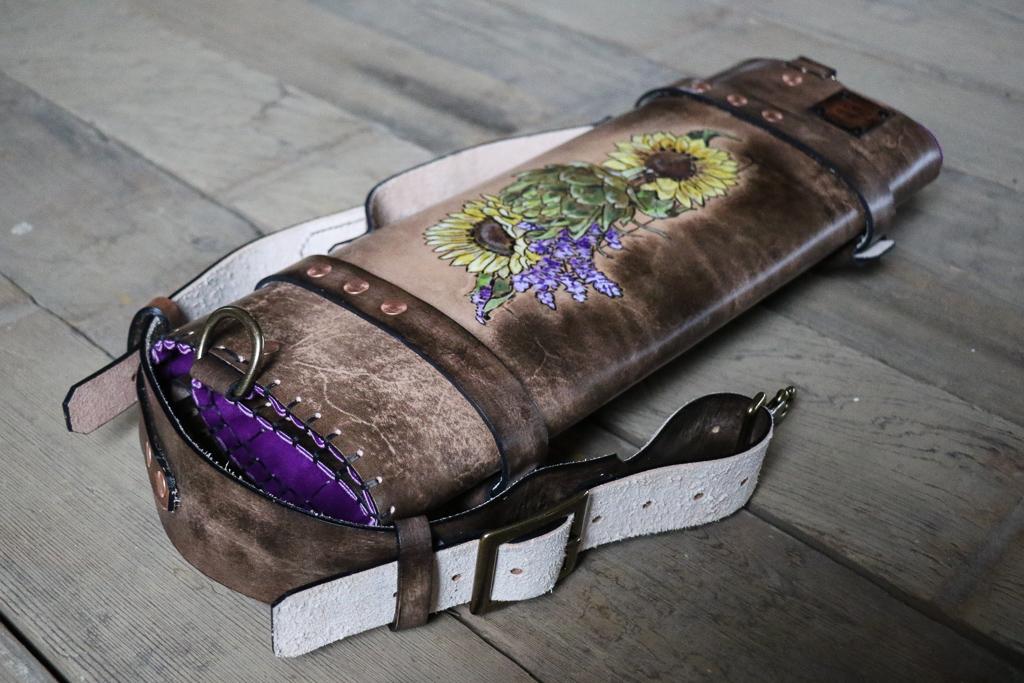 Sunflower knife roll by Linny Kenney