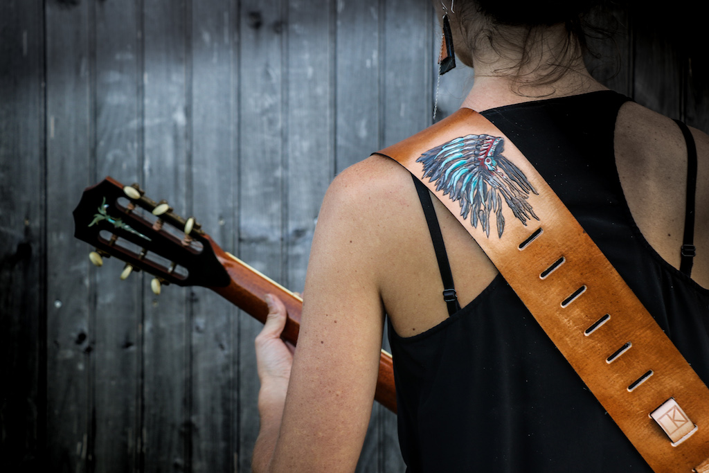 Native American Headdress Guitar Strap by Linny Kenney