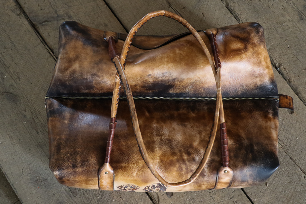 Large Leather Weekender Bag by Linny Kenney
