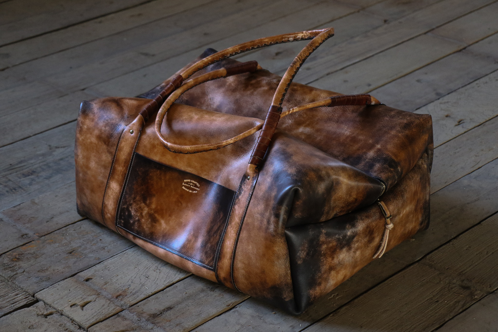 Large Leather Weekender Bag with dogs by Linny Kenney
