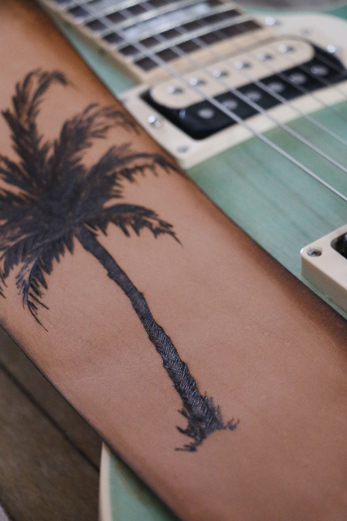 Palm Tree Guitar Strap by Linny Kenney