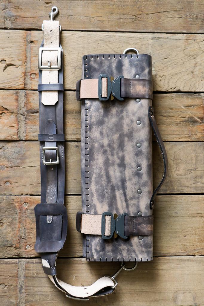 custom knife roll with messenger bag strap