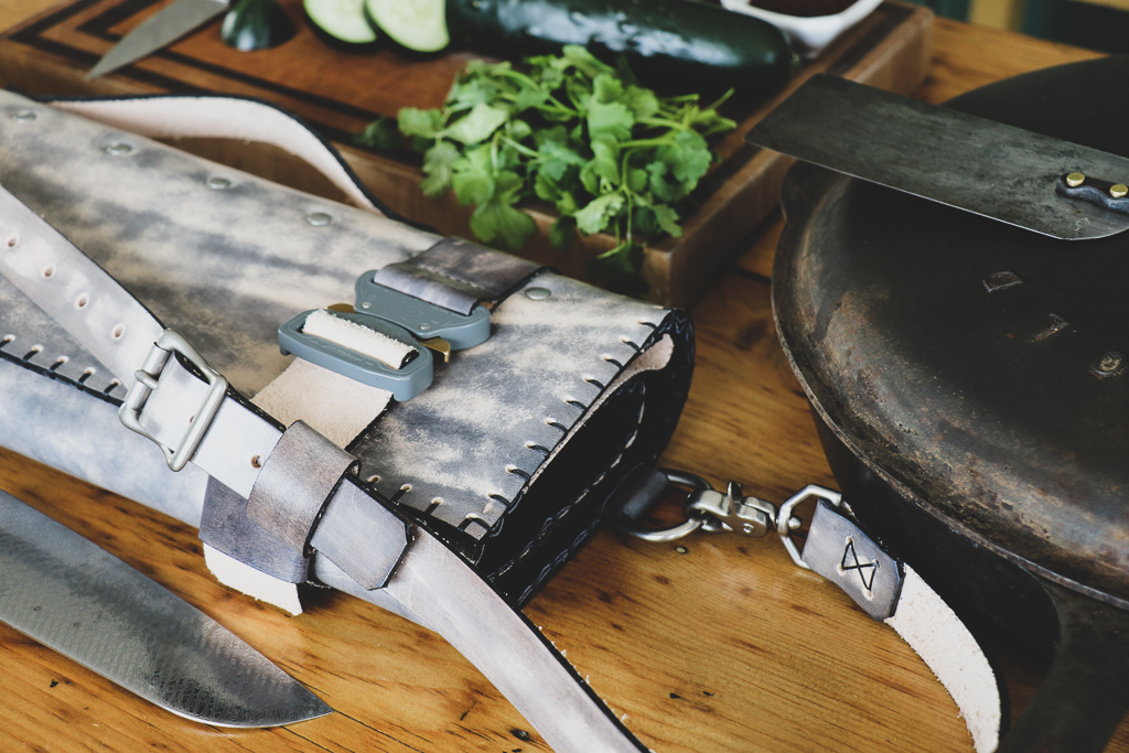 gray leather knife roll by Linny Kenneygray leather knife roll by Linny Kenney