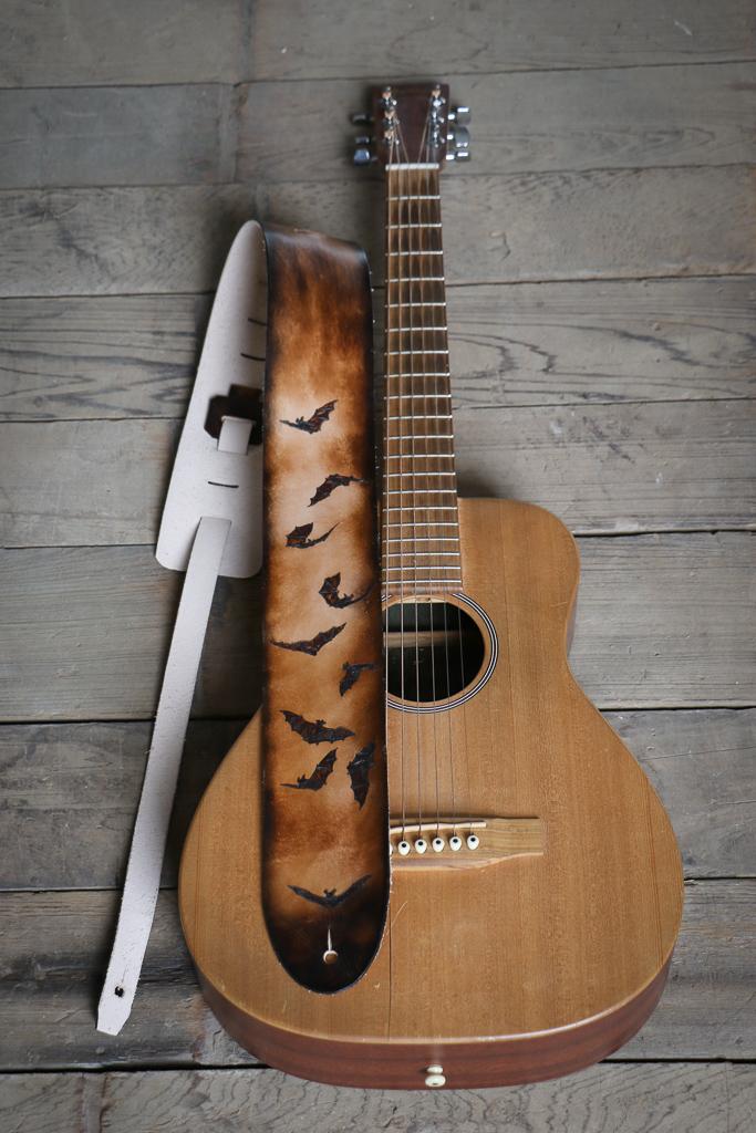 custom leather bat guitar strap by Linny Kenney