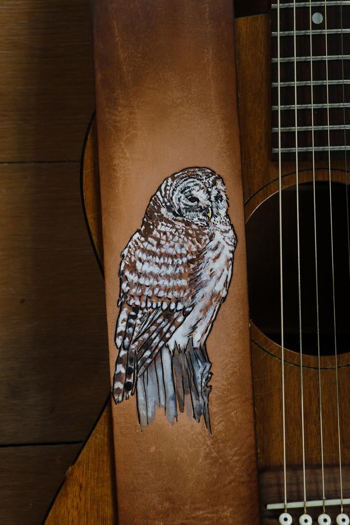 owl guitar strap by Linny Kenney