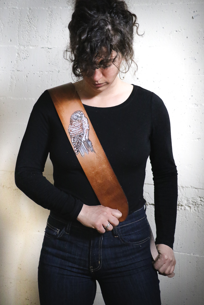 barred owl guitar strap by Linny Kenney
