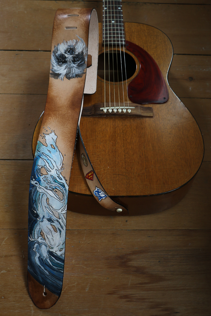 wave and dog custom leather guitar strap by Linny Kenney