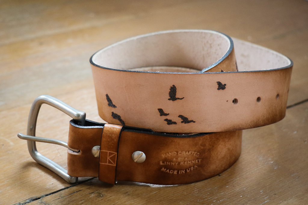 Forest and birds custom leather belt