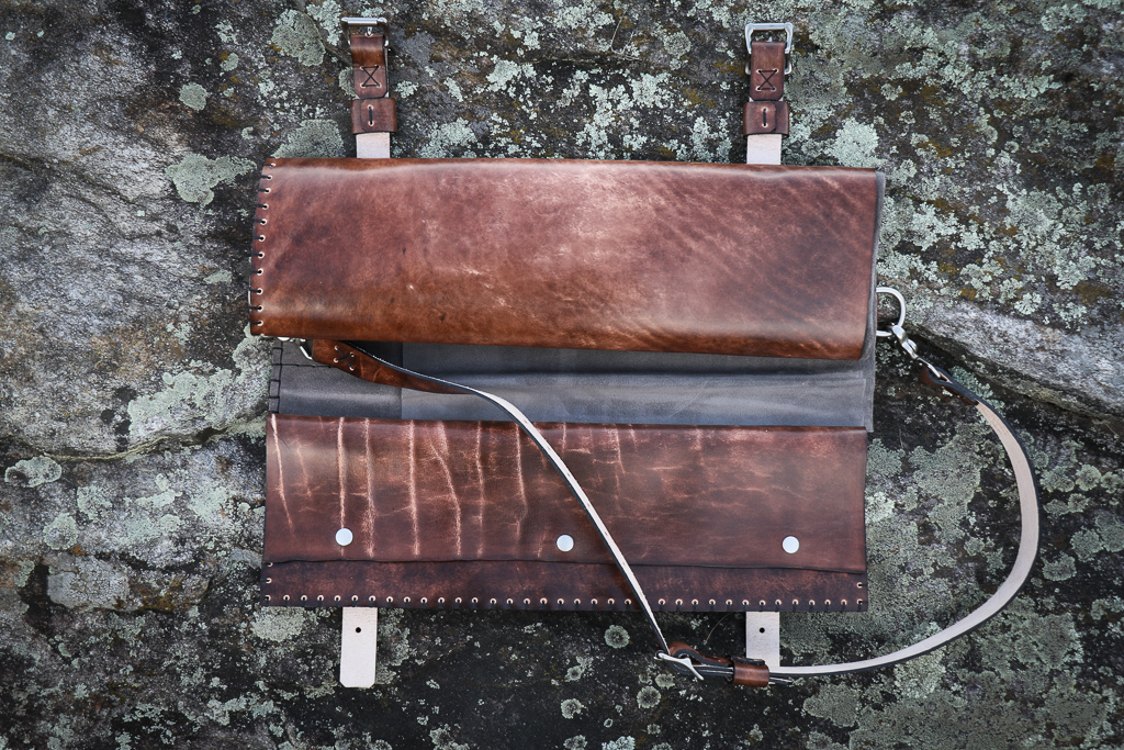leather knife roll by Linny Kenney