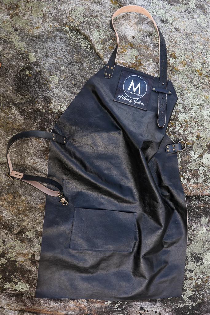 black leather apron