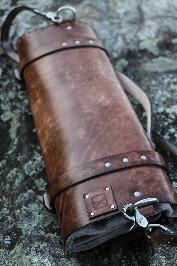 leather chef's knife roll by Linny Kenney
