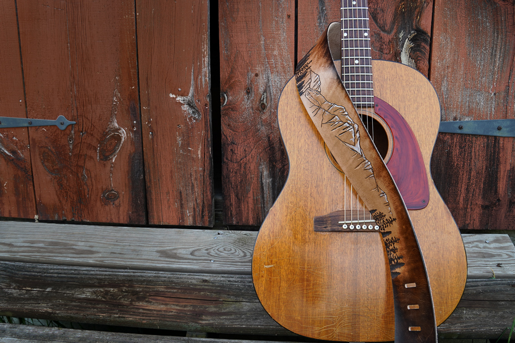mountain and forest guitar strap by Linny Kenney