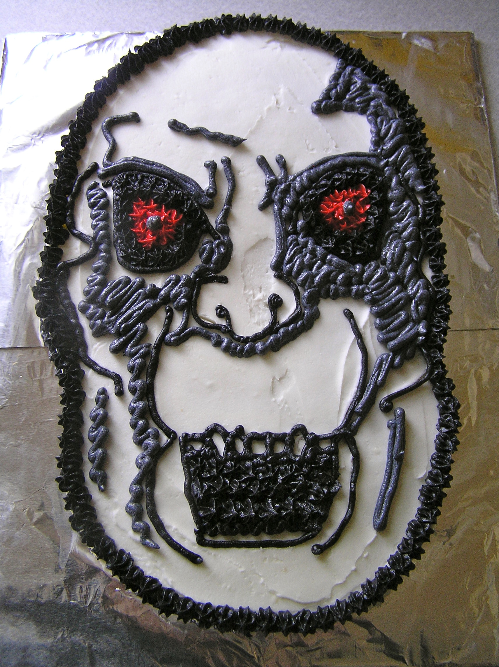 10) Killface:  What the hell ever happened to   Frisky Dingo  ? Killface was requested by a friend for her boyfriend's birthday. I had never watched the show, so Googling commenced, and then I laughed a bunch. That's a cool thing about making random cakes--you're always learning about something new.