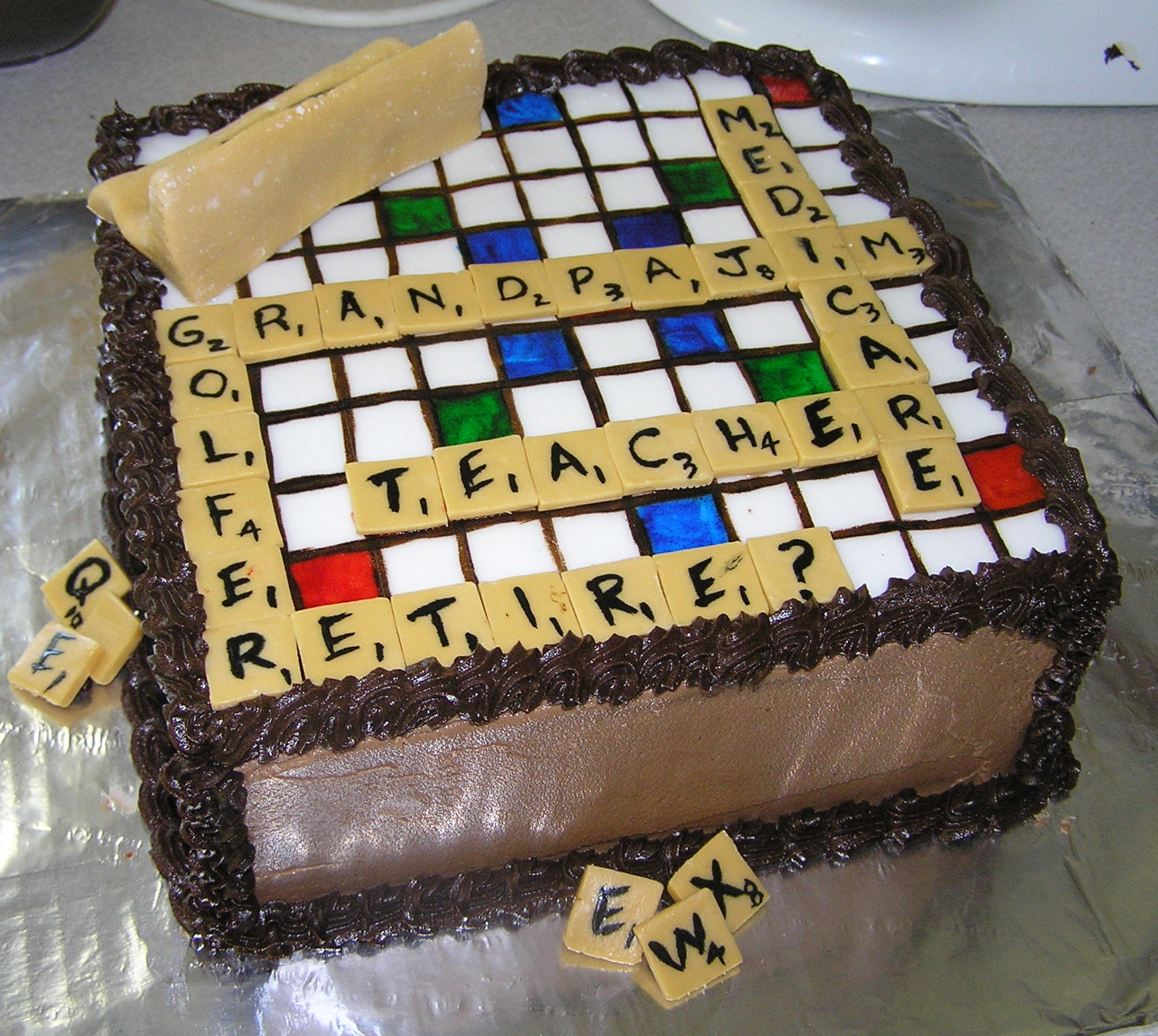 6) Scrabble Retirement:  The cake traveled to Nebraska to celebrate a retirement. And yes, I always check and make sure that there are enough letters to spell out the requested words. Otherwise, I ask for more words. Details matter.