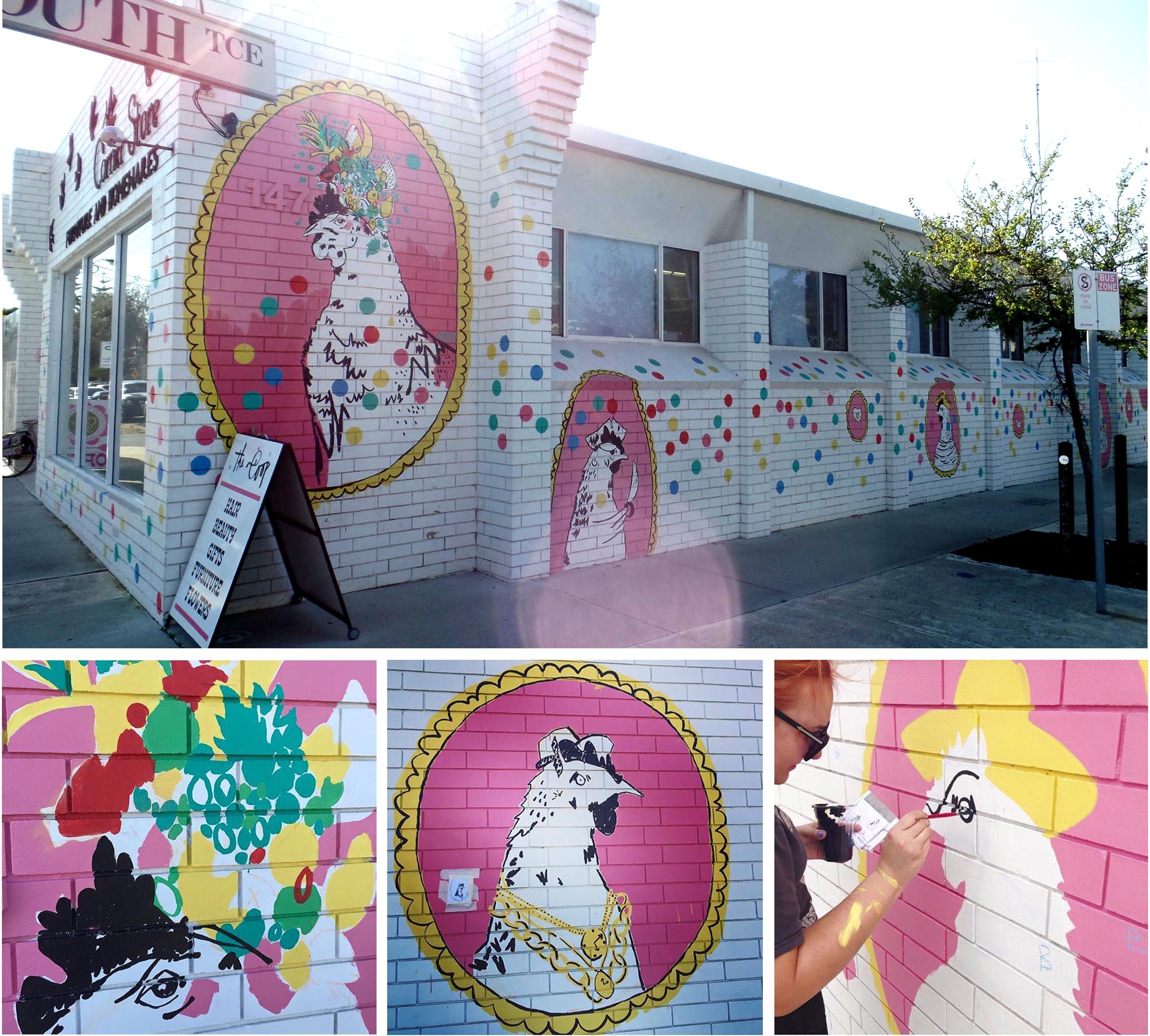 Corner Store Mural Rebecca Wetzler ( Top Photo by Streetartperth )