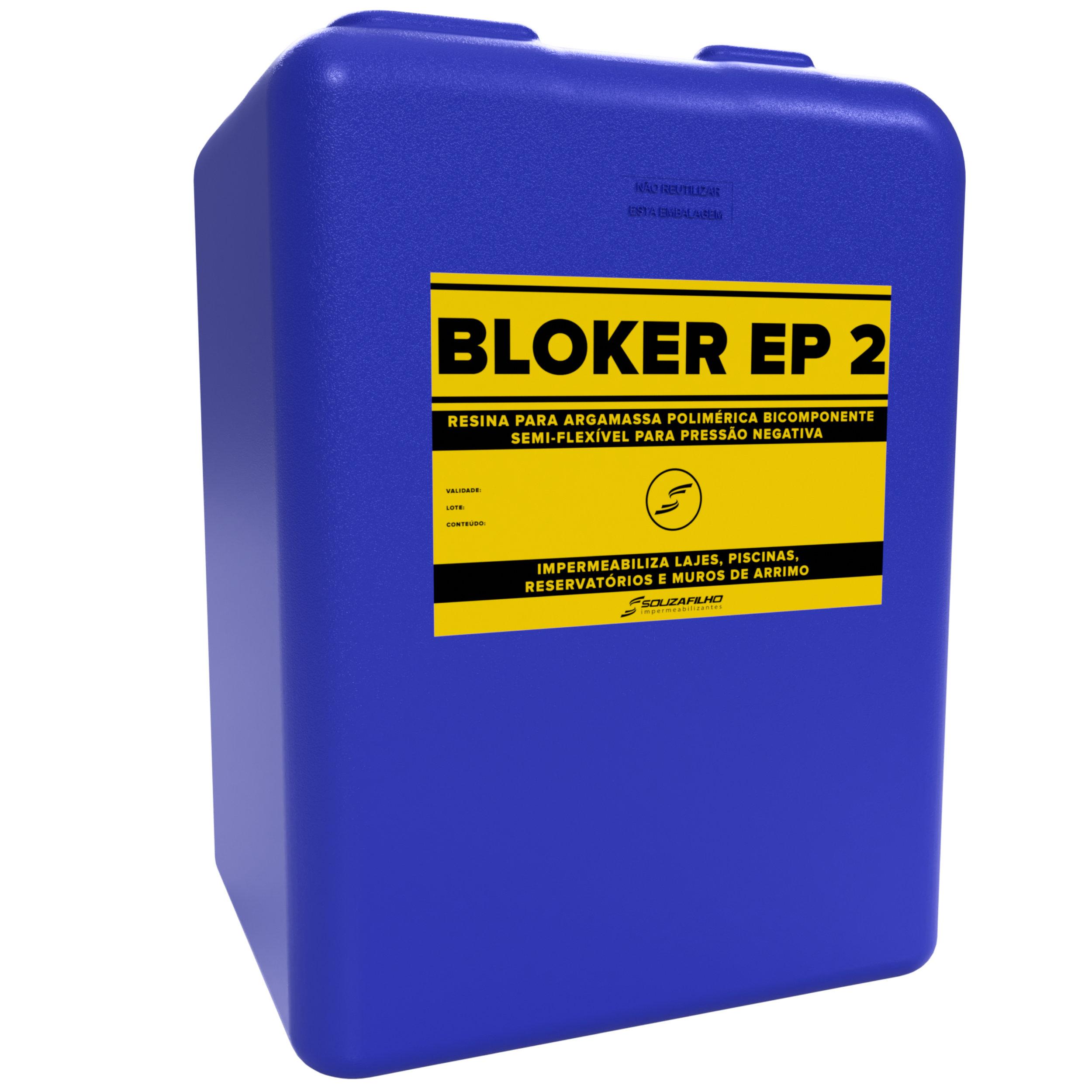 BLOKER EP 2 - Resina para argamassa polimérica impermeabilizante SEMI-FLEXÍVEL de pressão negativa.   Embalagem: 20 Litros   Ideal para: Parede e superfície sujeita a pressão negativa.   Rendimento:  1 Litro/m²