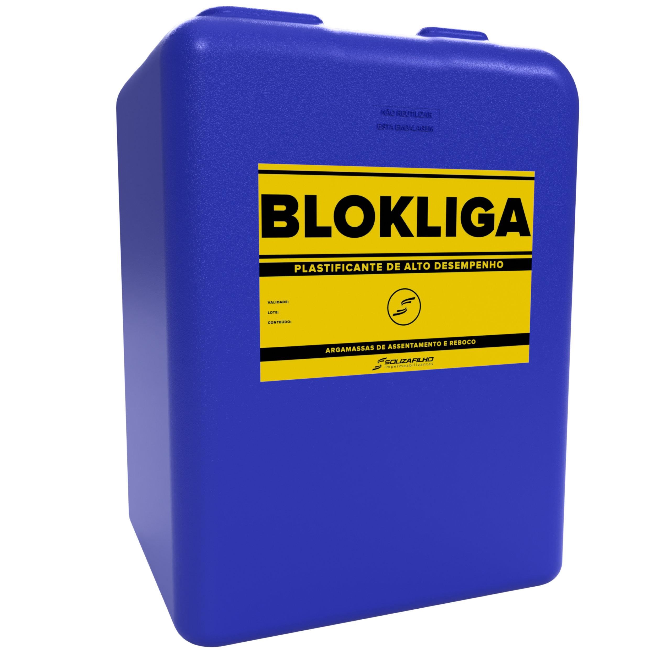 BLOKLIGA  - Plastificante para argamassas de assentamento e reboco.   Embalagem: 18 Litros   Ideal para: Argamassas de assentamento e reboco.   Rendimento:  100 mL por saco de 50 Kg de cimento CP II E-32.