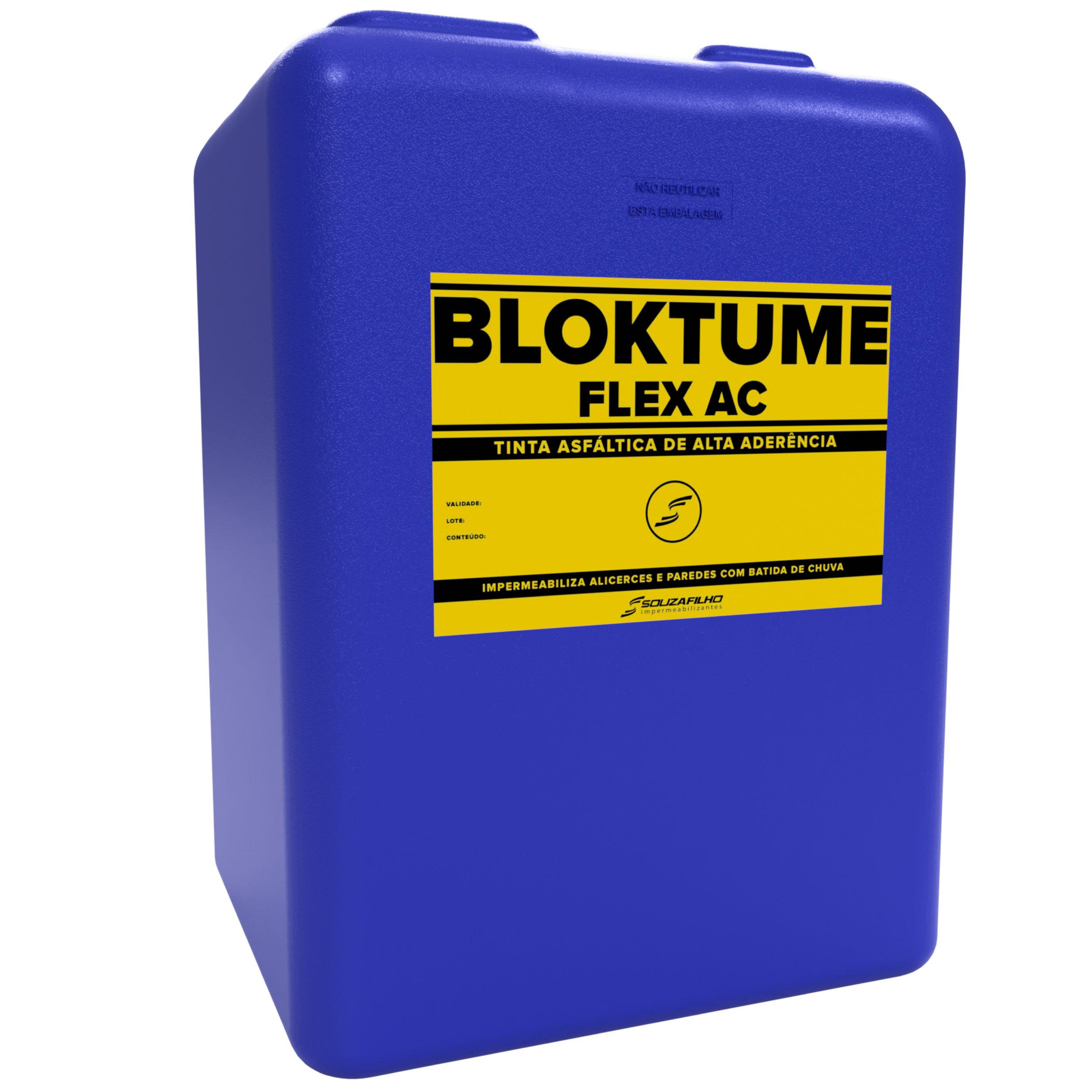 BLOKTUME FLEX AC  - Tinta asfáltica impermeabilizante flexível.   Embalagem: 50 e 200 Quilogramas   Ideal para: Baldrames.   Rendimento: 500 mL por m² em concretos e argamassas. 300 mL por m² em superfícies ferrosas.