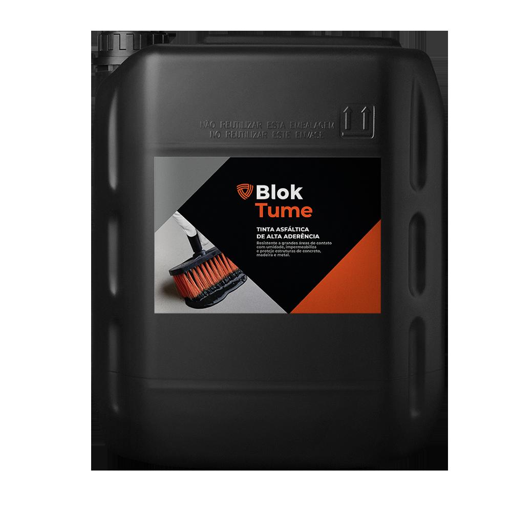 BLOKTUME  - Tinta asfáltica impermeabilizante.   Embalagem:  18 e 200 Litros   Ideal para:  Baldrames e ferragens.   Rendimento:  500 mL por m² em concretos e argamassas. 300 mL por m² em superfícies ferrosas.