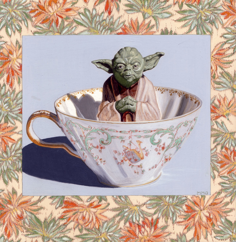 "Yoda in a tea cup - 8"" x 8"""
