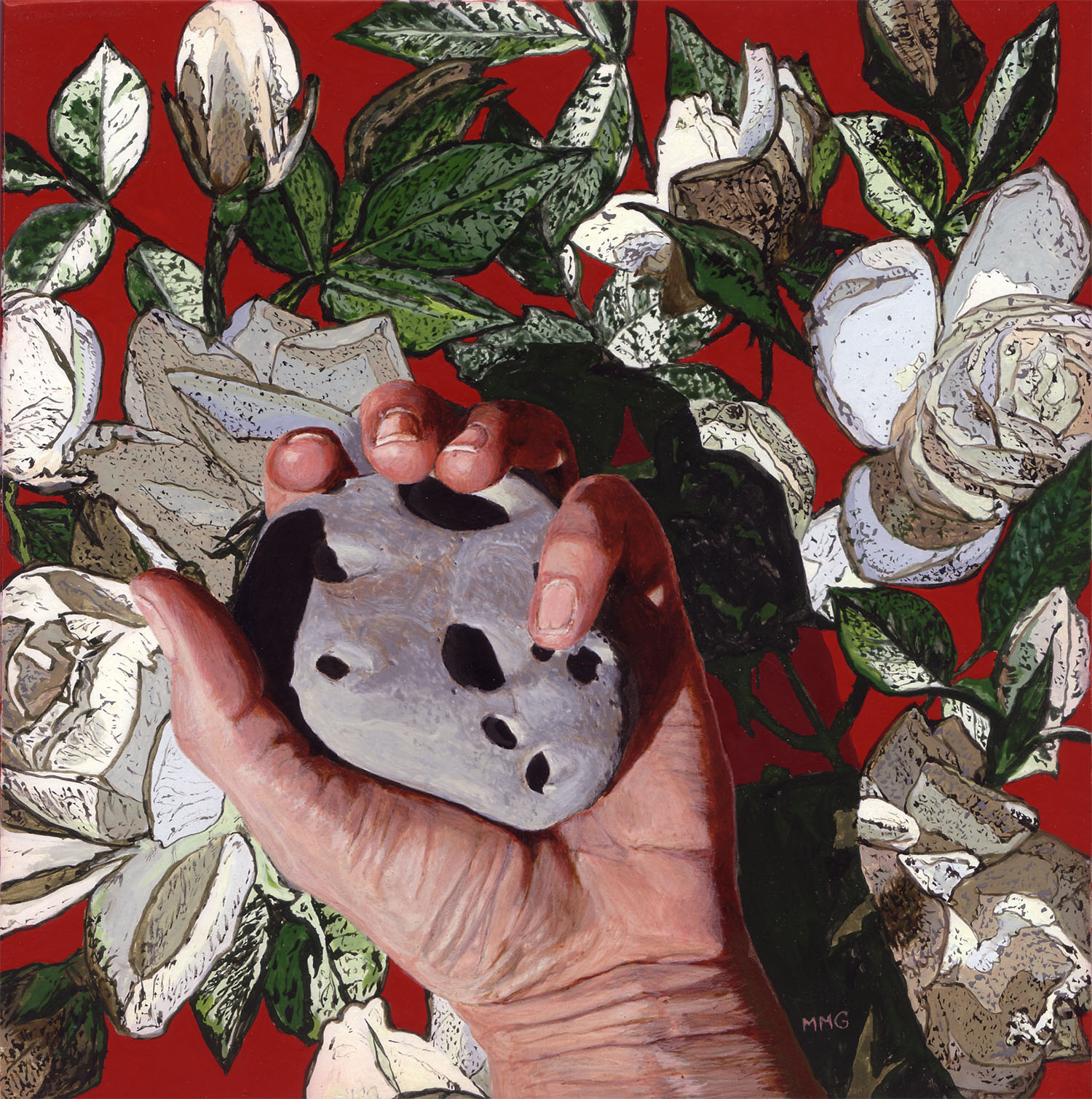 """Hand, Rock, and Roses - 8"""" x 8"""""""