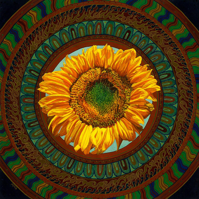 """Sunflower 9"""" x 9"""" egg tempera"""