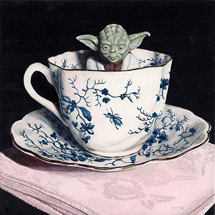 """Yoda and Pink 6"""" x 6"""""""