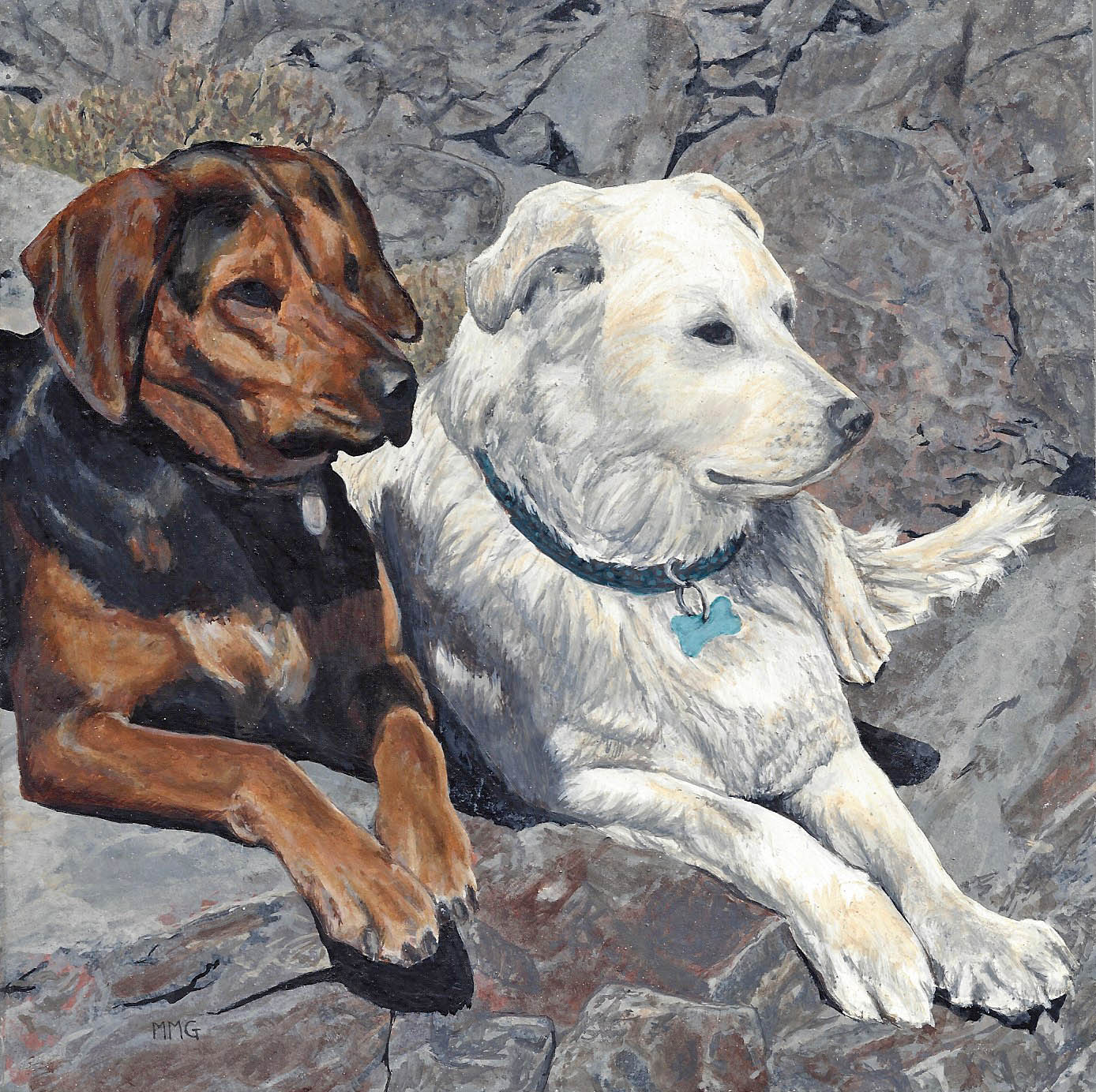"""Molly's dogs - 8"""" x 8"""""""