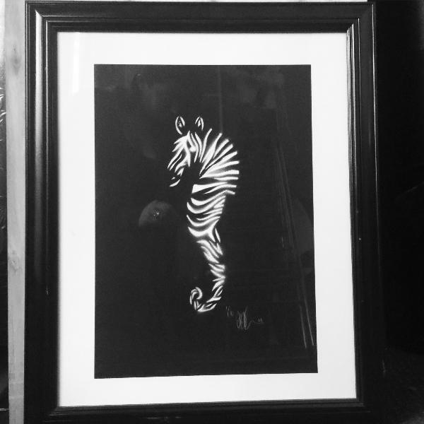 WHITE ON BLACK ZEAHORSE   aerosol + stencil on paper.