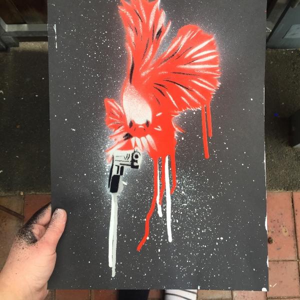 FIGHTING FISH   Aerosol + stencil on paper.