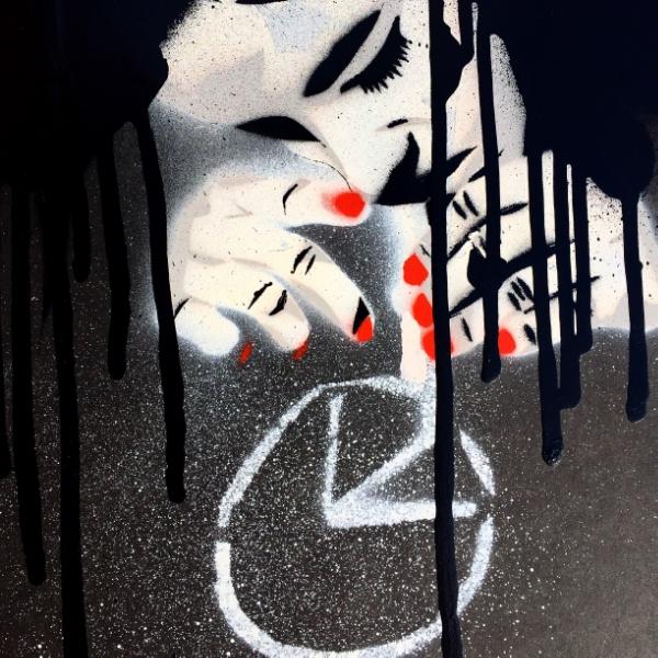 PEACE ADDICT   aerosol + stencil on paper.