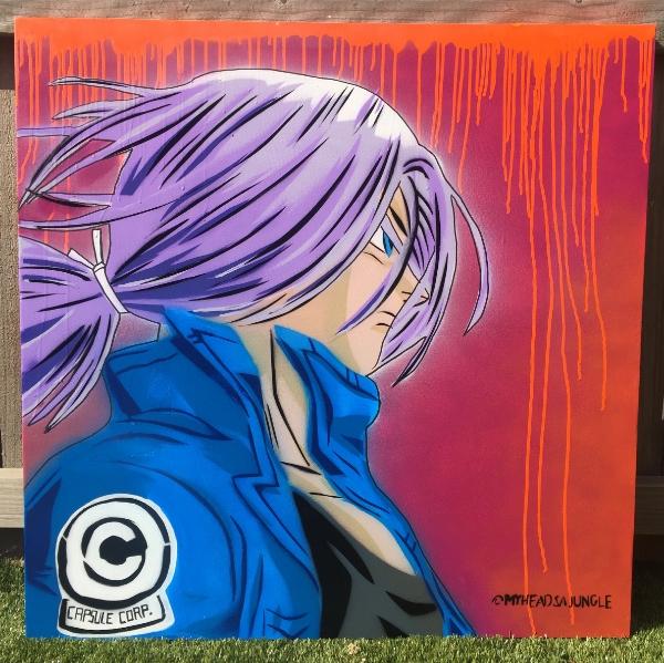 TRUNKS (DRAGIN BALL Z)    Aerosol + stencil on canvas.
