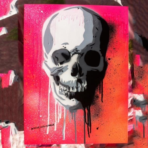 NEON SUNSET SKULL   aerosol + stencil on canvas.