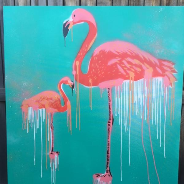 DOUBLE FLAMINGO TENDENCIES aerosol + stencil on canvas.
