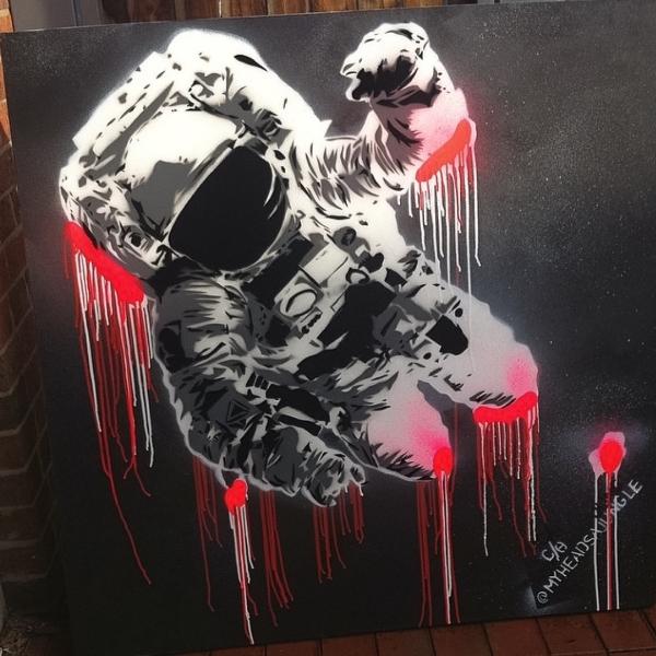 PINK ASTRO BOY   Aerosol + stencil on canvas.